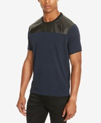 Kenneth Cole Reaction Men's Mixed Media Faux Leather Trim T Shirt Indigo