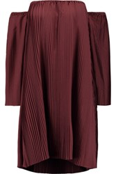 W118 By Walter Baker Yolanda Off The Shoulder Plisse Crepe Mini Dress Burgundy