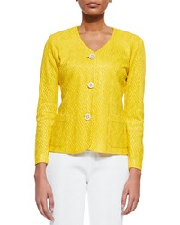 Misook Textured 3 Button Jacket Tahiti Yellow Petite