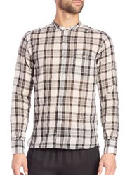 Ovadia And Sons Crosby Plaid Sportshirt White Black
