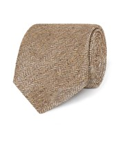 Dunhill Herringbone Woven Silk Tie Taupe