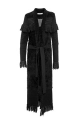 Jonathan Simkhai Fringe Pointelle Long Cardigan Black