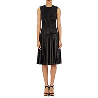 Barneys New York Women's Lambskin Drop Waist Dress Black Blue Black Blue
