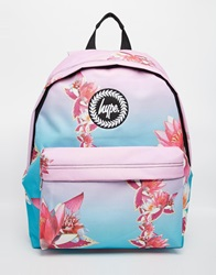 Hype Backpack In Pink And Blue Ombre With Digital Flower Print Mu1multi1