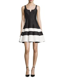 Halston Sleeveless Striped Mikado Fit And Flare Dress Black White Black White