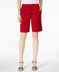 Karen Scott Bermuda Utility Shorts Only At Macy's New Red Amore