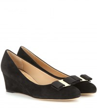 Salvatore Ferragamo Mirabel Suede Wedges Black
