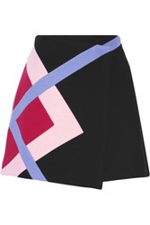 Msgm Color Block Wool Blend Felt Wrap Mini Skirt Black