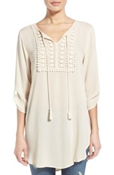 Women's Bobeau Tassel Tie Roll Sleeve Tunic