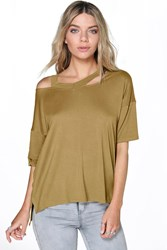 Boohoo Strappy Oversized S S Tee Olive