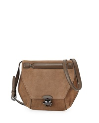 Kooba Marie Hexagon Suede Crossbody Bag Black Brown
