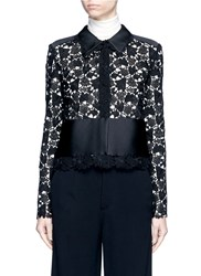 Lanvin Satin Panel Floral Guipure Lace Jacket Black