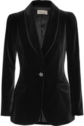 Temperley London Tuva Stretch Velvet Blazer Black