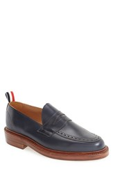 Thom Browne Men's Penny Loafer Navy Leather