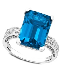 Macy's 14K White Gold Ring Blue Topaz 8 9 10 Ct. T.W. And Diamond 1 8 Ct. T.W.