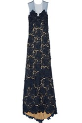 Catherine Deane Elvi Tulle Paneled Lace Gown Midnight Blue