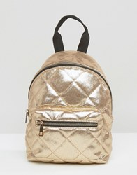 Asos Mini Quilted Nylon Backpack Gold