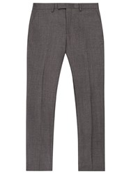 Reiss Severinos Slim Prince Of Wales Check Trousers Charcoal
