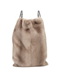 Mink Fur Drawstring Backpack W Monili Straps Gray Brunello Cucinelli