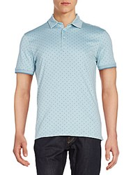 Saks Fifth Avenue Mini Polka Dot Polo Shirt Blue Mirage
