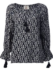 Figue 'Clodie' Ikat Print Tassel Blouse Black