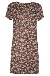 Alice And You Short Sleeve Printed Dress Burgundy