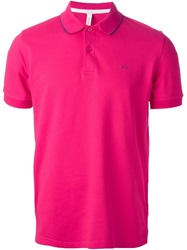 Sun 68 Piped Polo Shirt Pink And Purple