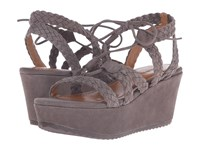 Trask Patrice Gray Kid Suede Women's Wedge Shoes