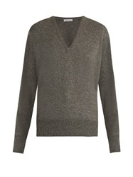Tomas Maier V Neck Cashmere Sweater Mid Grey