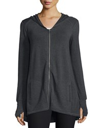Neiman Marcus Active High Low Hooded Zip Up Tunic Heather Charcoal Gray