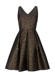 Wallis Petite Gold Jacquard Prom Dress