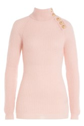 Balmain Turtleneck Pullover With Embossed Buttons Rose