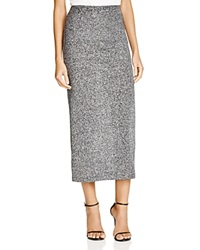 French Connection Bianca Metallic Knit Midi Skirt Gray