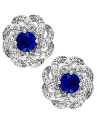 Macy's Sapphire 5 8 Ct. T.W. And Diamond 1 3 Ct. T.W. Knot Earrings In 14K White Gold Blue