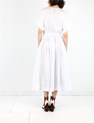 Black Crane Pleats Dress White