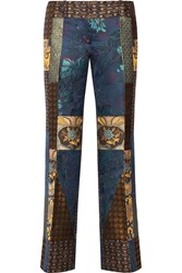 Etro Patchwork Jacquard Flared Pants Blue