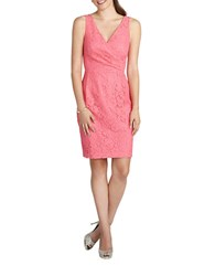 Donna Morgan Floral Lace Surplice Sheath Dress Watermelon