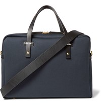 Miansai Leather Trimmed Cotton Canvas Briefcase Navy