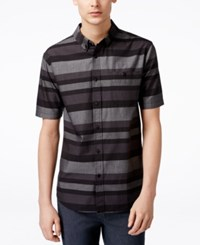 Ezekiel Men's Freebyrd Striped Short Sleeve Button Shirt Black