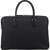 Barneys New York Men's Top Zip Briefcase Black Blue Black Blue