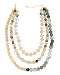 Panacea Layered Iridescent Geometric Collar Necklace Black