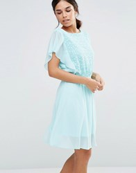 Pussycat London Dress With Lace Top And Frill Sleeves Mint Blue