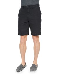 John Varvatos Triple Needle Woven Linen Shorts Black