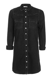 Topshop Moto Western Shirt Dress Washed Black