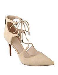 Marc Fisher Toni Suede Gladiator Pumps Natural