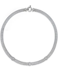 Macy's Diamond Station Collar Necklace 3 8 Ct. T.W. In Sterling Silver No Color