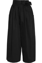 Tome Cropped Cotton Blend Sateen Wide Leg Pants Black