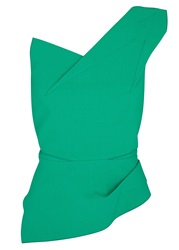 Roland Mouret Keiko Sea Green One Shoulder Wool Crepe Top