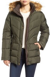 Larry Levine Women's Quilted Coat With Faux Fur Trim Pesto