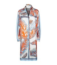 Emilio Pucci Feather Print Silk Shirt Dress Female Blue